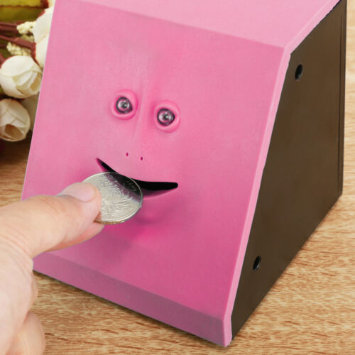 Collection Savings Bank Face Coin Eating Automatic Money Box Piggy Bank Pink