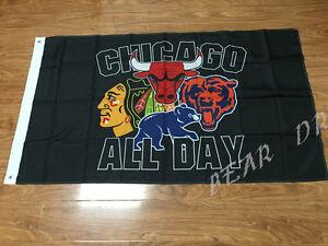 Chicago-Blackhawks-Chicago-Cubs-Chicago-Bulls-NBA-mixed-polyester-banner-flag