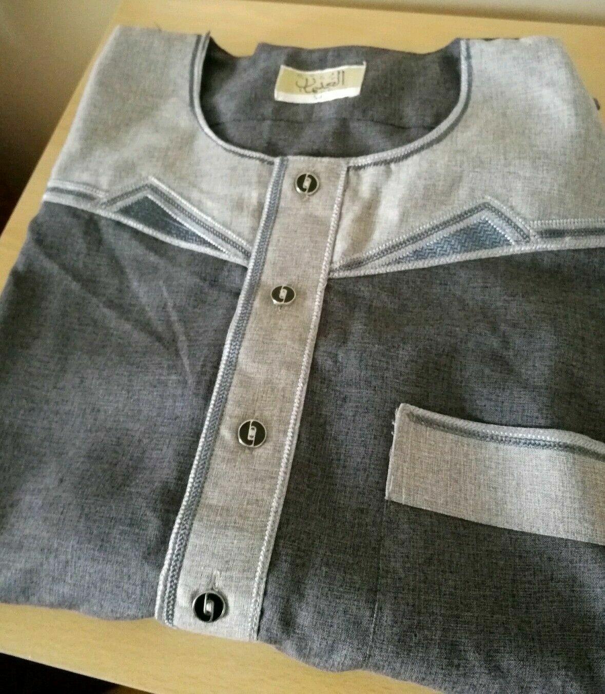 Blue Thobe With Grey Design Omani Style matt material 54L