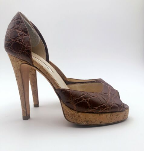 Brown Scarpe Misura 5 tacchi Leather La Crocodile Oscar Renta 37 Pumps De con Platform tPnq84