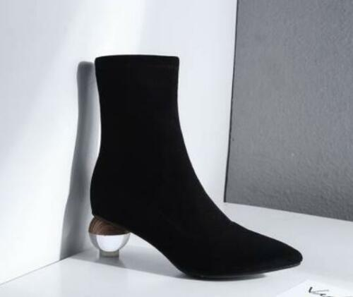 Womens Faux Suede Pointed Toe Ankle Riding Boots Stilettos Ball Heels Shoes E723