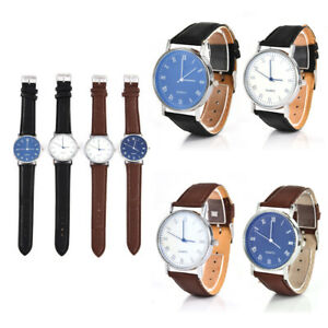Men-039-s-Casual-Faux-Leather-Strap-Watch-Business-Quartz-Analog-Round-Wrist-Watches