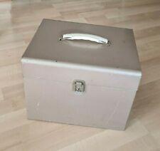 Vintage Tan Metal File Box Handle Latch Closure Portable File Case 125x975x10