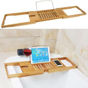 Luxury Bamboo Bath Bridge Tub Caddy Tray Rack Bathroom Shelf Holder ...