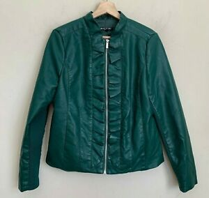 Baccini-Moto-Jacket-Womens-Green-Faux-Leather-Ruffle-Trim-Zip-Pockets-Lined-Sz-M
