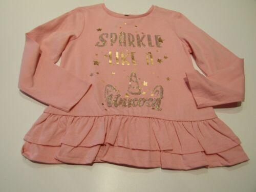 Girls Cute Pink Peach Sparkle Magical Sequin Unicorns Long Sleeve Tops New