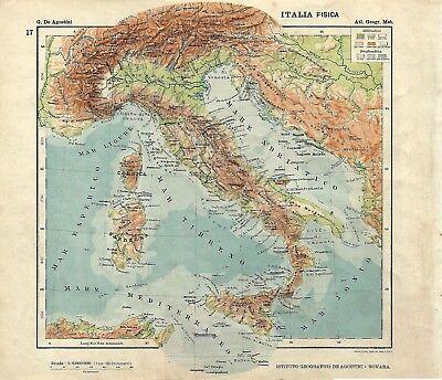 Cartina Politica Italia Alta Definizione.Carta Geografica Antica Italia Fisica Ante Grande Guerra 1914 Old Antique Map Ebay