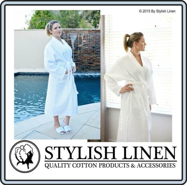 15738a2e61 Bathrobe 100 Cotton Waffle Bath Robe Slippers Adult Unisex Gown White X 1  for sale online