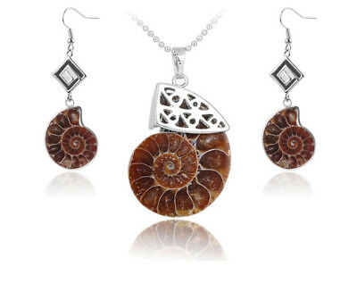 Fine Jewelry Sets S966f Set Ammonit Versteinerung Necklace With Pendant Earring Silver Plated Orders Are Welcome.
