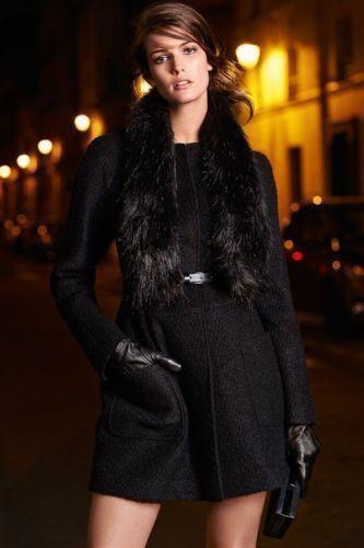 Next Detachable Faux Fur Scarf Wool Blend  Boucle Coat 14Tall