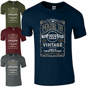 5eb320346 Made in 1959 T-Shirt Born 60th Year Birthday Age Present Vintage ...