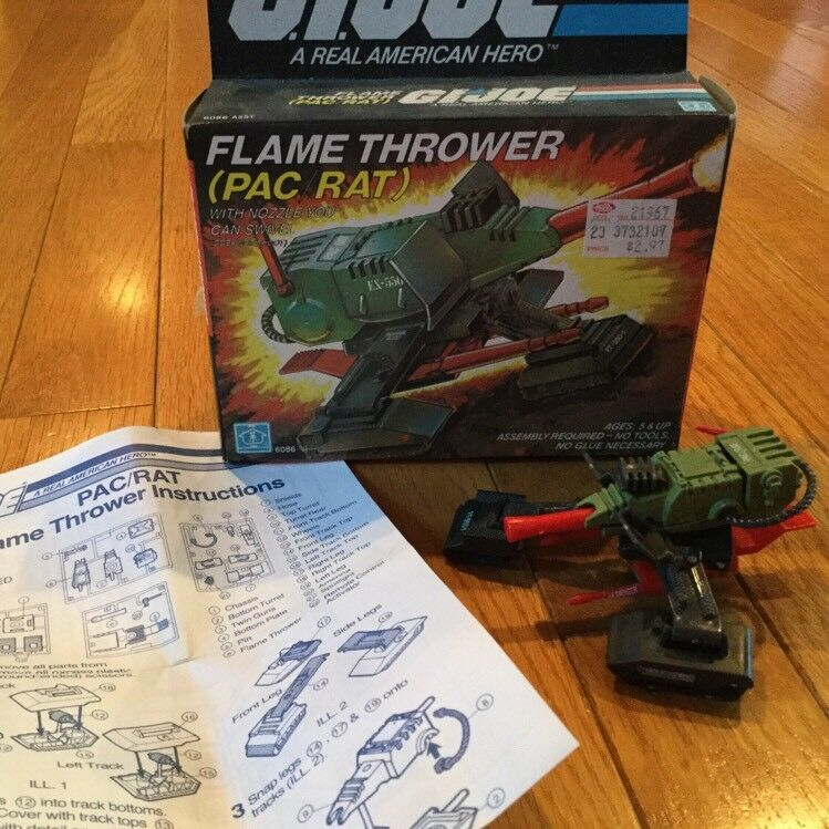 Vintage Rare G.I. JOE Flame Thrower PAC RAT Action Figure Playset Original Box