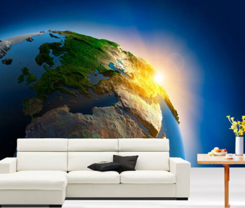 Earth Outer Space Sunrise 3D Full Wall Mural Photo Wallpaper Home Decal Dec Kids
