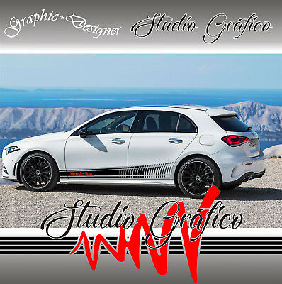 100% De Calidad 2 Kit Fasce Adesive Sportive Sottoporta Mercedes-benz Classe A úLtima Moda