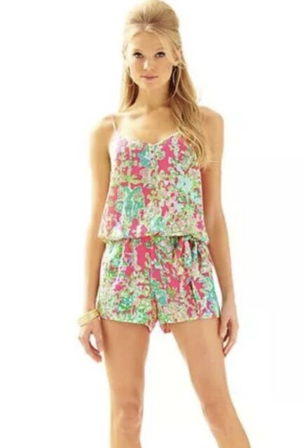 3d98243f4ae Lilly Pulitzer Flamingo Pink Southern Charm Deanna Romper Size L for ...