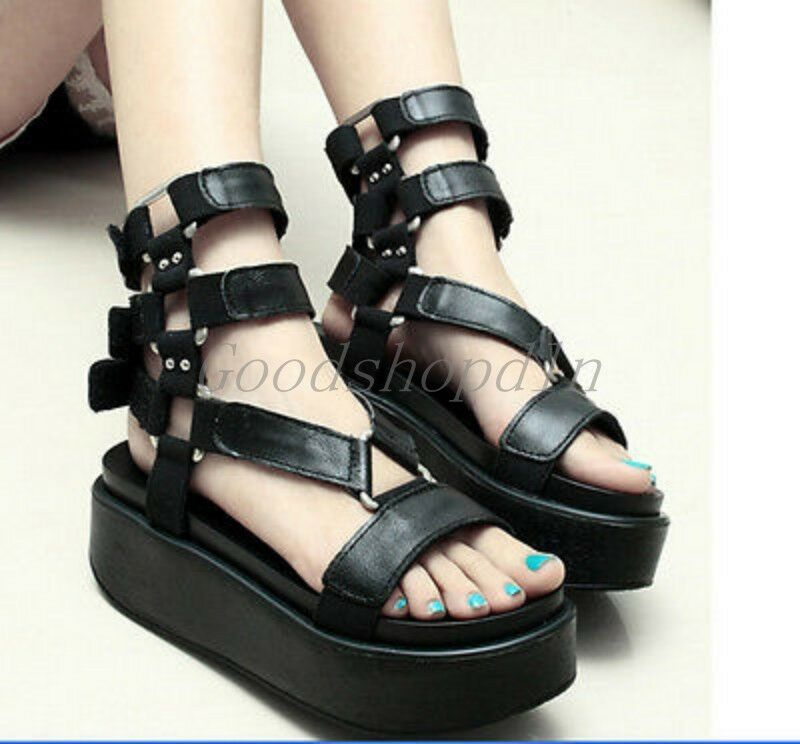 Womens Platform Creeper Buckle Roman Punk Riding New Summer Sandals shoes LE234