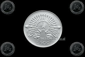 1985 ITALY complete official set coins with 2 silver UNC Manzoni /& Columbus