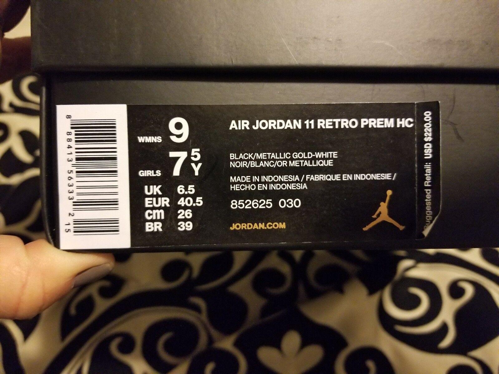 Jordan Retro 11 PREM HC Heiress Stingray Black Gold 852625-030 GG Cheap women's shoes women's shoes