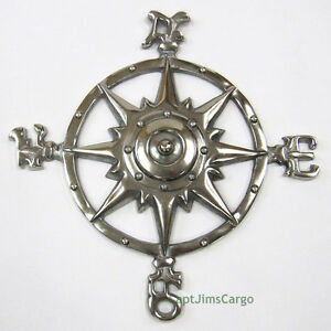 Compass-Rose-Chrome-Finish-12-034-Aluminum-Windrose-Nautical-Wall-Hanging-Decor-New