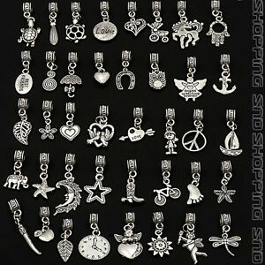 Tibetan-Mix-Dangle-Silver-Charms-Fit-European-Bracelet-Bails-Lots-Beads-Pendants