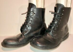 Pre-Owned-Via-Spiga-Black-leather-034-Combat-039-Style-Lace-Up-Boots-5072-US-12-D-NR