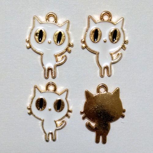 8pcs Cat Metal Charm Pendentif Artisanat Jewelry Making À faire soi-même
