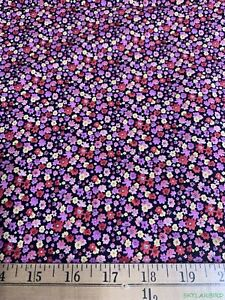 2-7Yds-VTG-OOP-HTF-Shamash-Mini-Floral-on-Black-Stretch-Cotton-Fabric