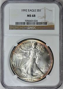 1992-1-Silver-Eagle-NGC-MS68-Nicely-Toned-ASE