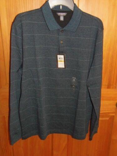 Sz Med Van Heusen Flex Natural Stretch Polo Shirt CF-14-11 Ret $54 Blue