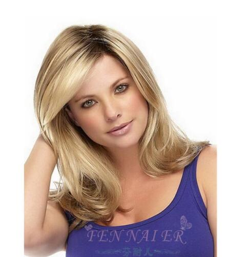 Small roll blonde gold gradient hair root attractive curly wig mature female