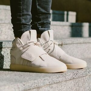 Details zu Adidas Tubular Invader Strap Beige White Suede Leather Trainers Men UK 12 12.5