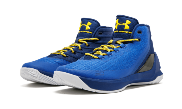 NIB MEN S UNDER ARMOUR 1269279 400 CURRY 3 ROYAL BLUE YELL BASKETBALL SHOE   150 90a09478a