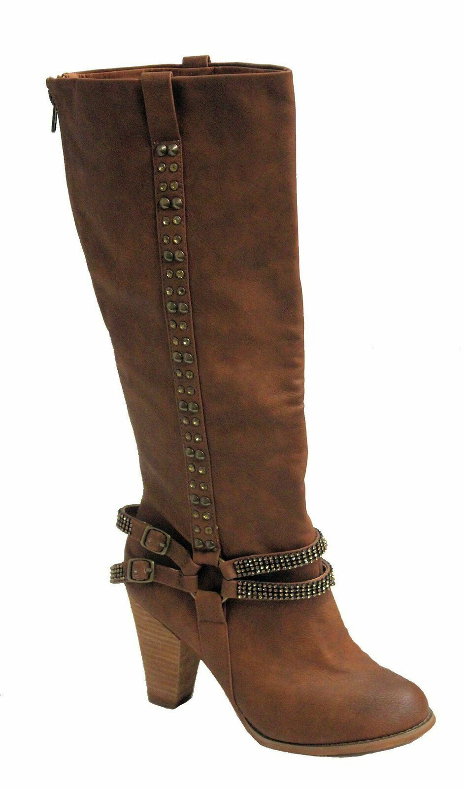 Not Rated Women's Tall Crystals Boot Caramel US 6.5 NOB