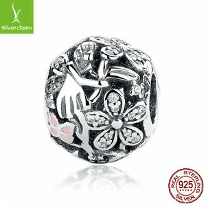 Authentic-925-Sterling-Solid-Dazzling-Daisy-Fairy-Charm-Pink-Enamel-Clear-CZ-DIY