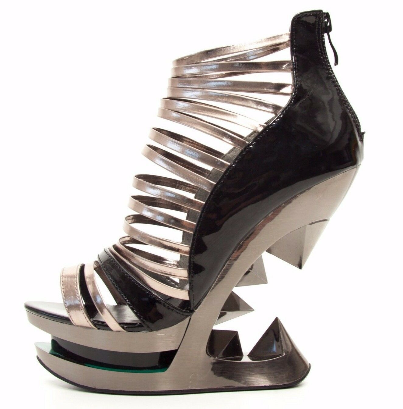 Hades discor Negro Patente Gun Metal Punta Abierta Con Correas Sandalias Zapatos de cuña Iceberg