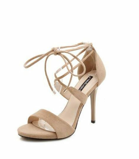 Sandali stiletto eleganti sabot 9 cm beige ciabatte simil pelle eleganti CW400