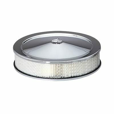 14x3 CHROME ROUND AIR CLEANER FILTER CHEVROLET FORD HOTROD EDELBROCK HOLLEY