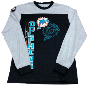 Miami Dolphins, Big Logo Graphics, Crew Neck Long Sleeve T Shirt, Size Medium