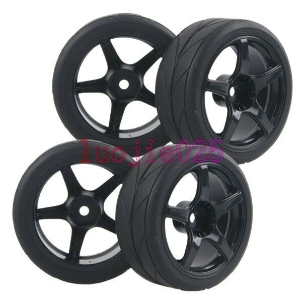RC 1:10 On-Road Car Foam lines Rubber Tyre Tires &Wheel Rim black 9077-6081