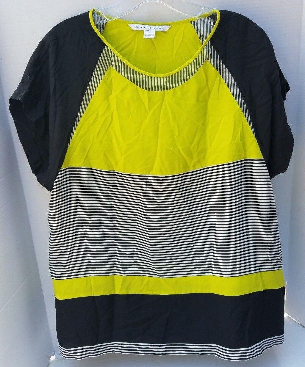 Diane Von Furstenberg Pulsa Top Silk Blouse Shirt schwarz Grün Weiß S Small DVF