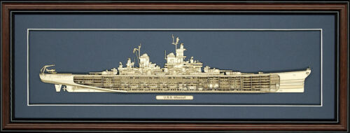 Wood Cutaway Model of USS Missouri (BB-63) - Made in the USA