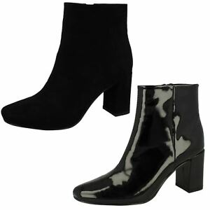 Spot-On-F5R0596-Ladies-Black-Patent-Zip-Up-3-034-Block-Heeled-Ankle-Boots