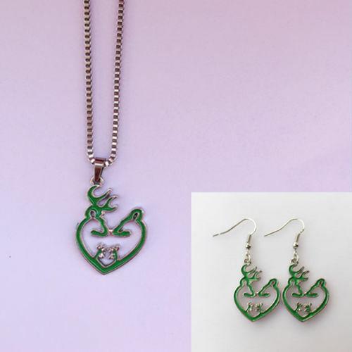 Green 1 set Heart romantic Browning Deer Necklace/&Earring Jewelry Gift Women