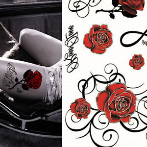 6d8f985d03bad Image is loading Sexy-Tattoo-Skull-Rose-Temporary-Body-Arm-Stickers-