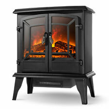 "20"" Infrared Quartz Electric Fireplace Heater 1400W 2 Drs Stove Realistic Flame"
