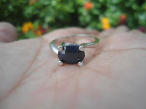 Natural-Intense-Blue-SAPPHIRE-amp-CZ-Birthstone-925-STERLING-SILVER-RING-S7-75
