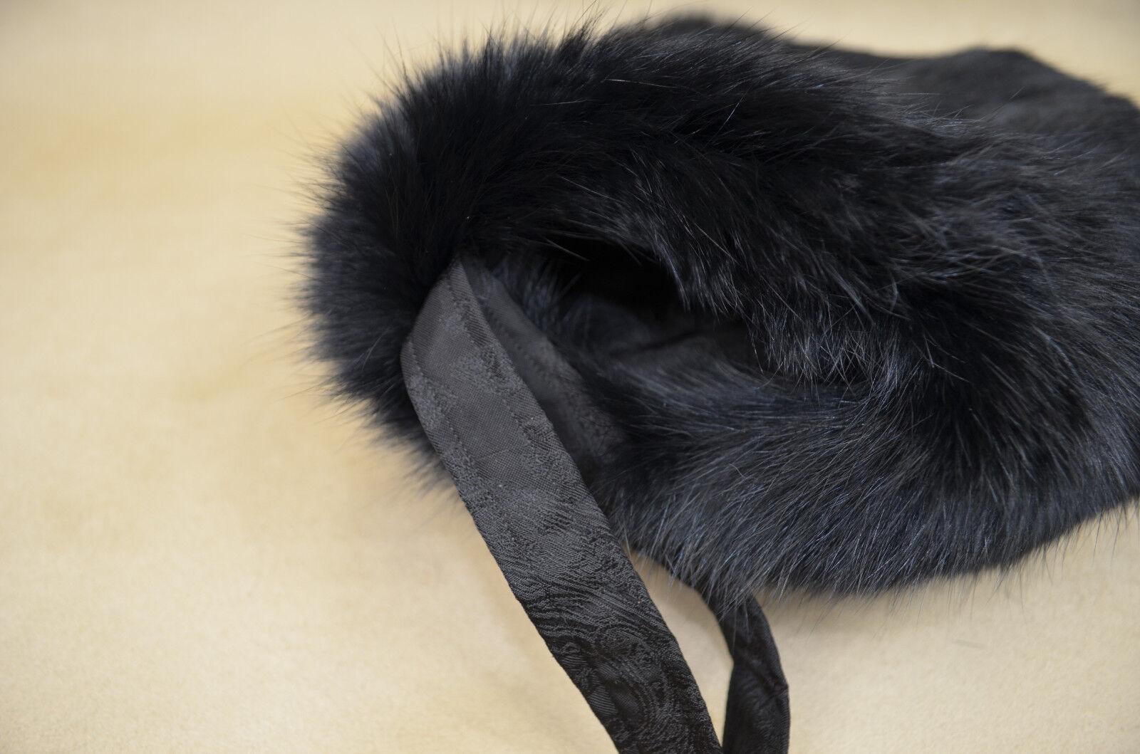 Muff Fell Pelz Echt Echt Echt Handwärmer Handschuh Kaninchen Schwarz gefärbt neu | Adoptieren  | Erste in seiner Klasse  | Gewinnen Sie hoch geschätzt  69c9bf