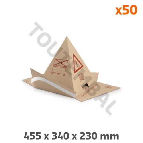 par 50 Pyramide anti-gerbage adhésive en carton conique 455x340x230 mm