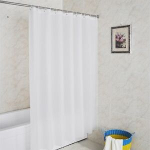 Details Sur Decor Rideau Douche Salle Bain De Impermeable Blanc Pur 12 Crochets