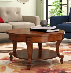 Large Round Coffee Table Vintage Storage Shelf Classic Antique